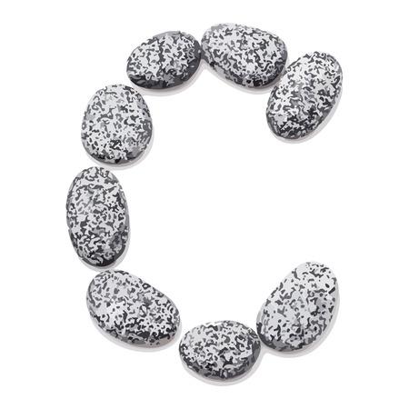 lithic: Letter C.  Letter made of little stones. On white. Vector Illustration.