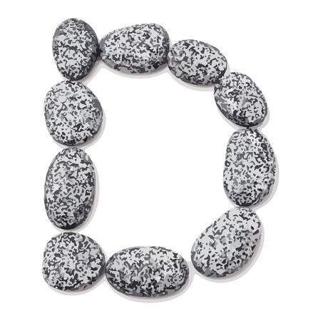 Letter d.  Letter made of little stones. On white. Vector Illustration. Ilustração