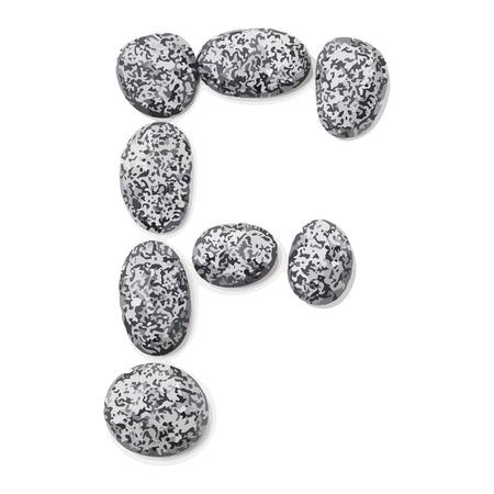 shingle: Letter f.  Letter made of little stones. On white. Vector Illustration.