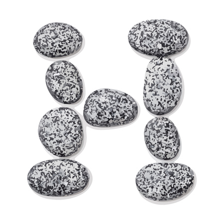 lithic: Letter h.  Letter made of little stones. On white. Vector Illustration.