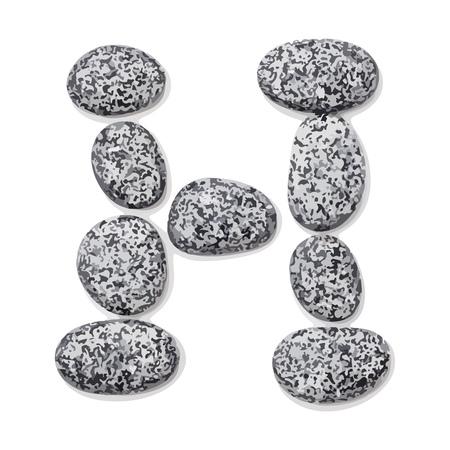Letter h.  Letter made of little stones. On white. Vector Illustration.