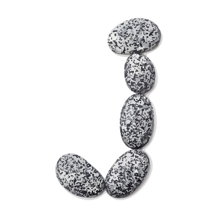 Letter j.  Letter made of little stones. On white. Vector Illustration. Ilustração