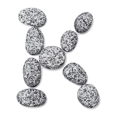 Letter k.  Letter made of little stones. On white. Vector Illustration.