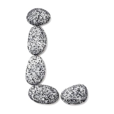 Letter L.  Letter made of little stones. On white. Vector Illustration.