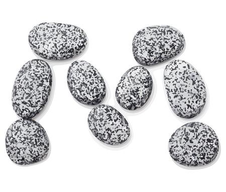 Letter m.  Letter made of little stones. On white. Vector Illustration.