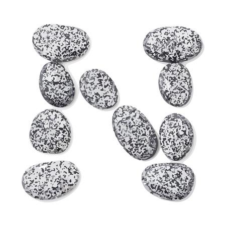 lithic: Letter n.  Letter made of little stones. On white. Vector Illustration.