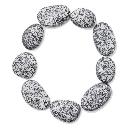 macadam: Letter o.  Letter made of little stones. On white. Vector Illustration.