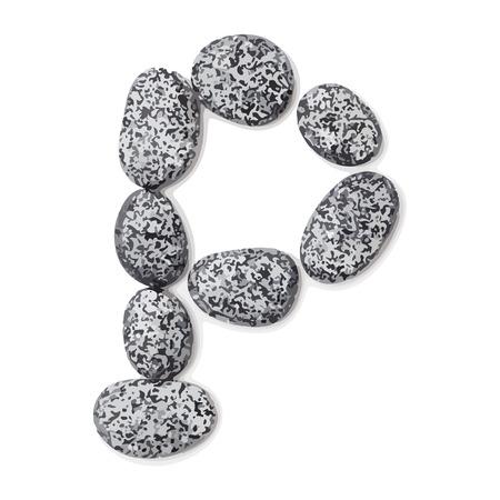 lithic: Letter p.  Letter made of little stones. On white. Vector Illustration.