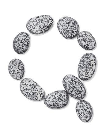 lithic: Letter q.  Letter made of little stones. On white. Vector Illustration.