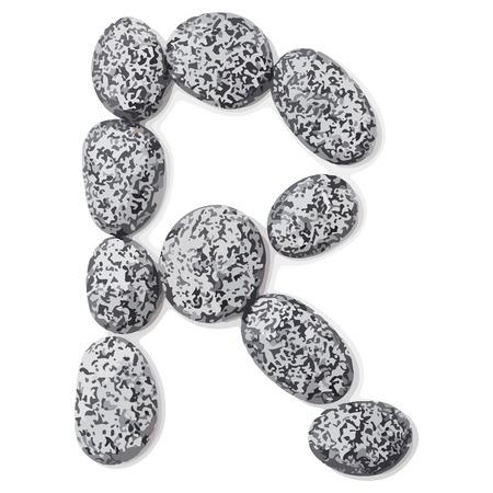 lithic: Letter r.  Letter made of little stones. On white. Vector Illustration.