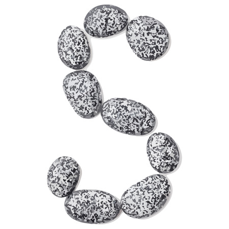 lithic: Letter s.  Letter made of little stones. On white. Vector Illustration.
