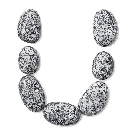 lithic: Letter u.  Letter made of little stones. On white. Vector Illustration.