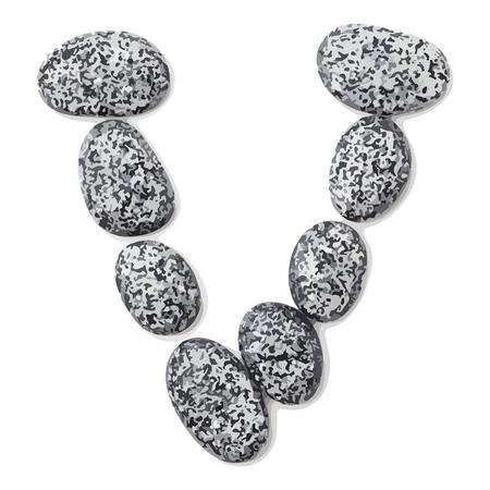 lithic: Letter v.  Letter made of little stones. On white. Vector Illustration.
