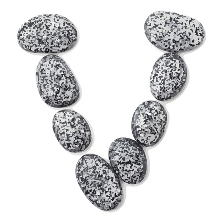 Letter v.  Letter made of little stones. On white. Vector Illustration.