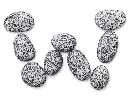 Letter w.  Letter made of little stones. On white. Vector Illustration.