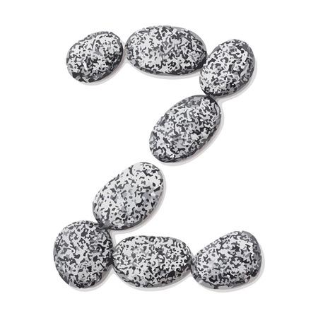 lithic: Letter z.  Letter made of little stones. On white. Vector Illustration. Illustration
