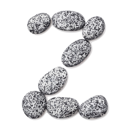 Letter z.  Letter made of little stones. On white. Vector Illustration. Ilustração