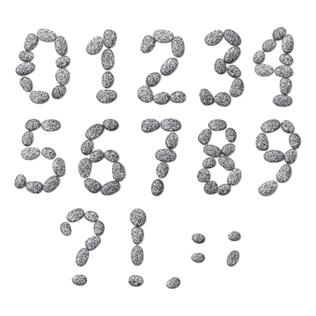 Vector Illustration. Letter made of little stones. On white. Numbers and punctuation marks.