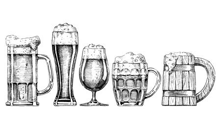 style: Vector set of beer glasses and mugs in ink hand drawn style. isolated on white.