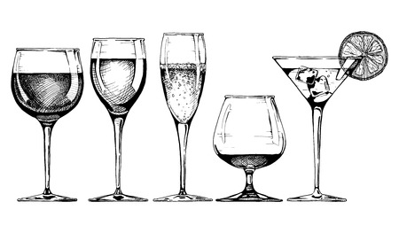 wine glass: Vector set of glasses goblets in ink hand drawn style. isolated on white. Illustration