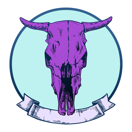 tattoo face: Vector illustration of cow skull stylized as tattoo. Face view. Illustration