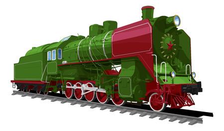 白い背景に分離された古い蒸気機関車のイラスト。単色の塗りつぶし、グラデーション。ソビエト連邦の機関車です。  イラスト・ベクター素材