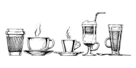 hot coffee: Vector set of coffee cups in ink hand drawn style. isolated on white. Illustration