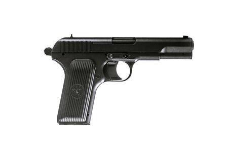 pistola: Foto de arma soviético aislado en blanco. pistola TT Foto de archivo