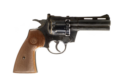pellet gun: Photo of  black revolver isolated on white background