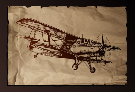 airplane: Vector drawing of airplane stylized as engraving on old paper background,vector.