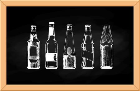 Vector set of beer bottles on chalkboard background.