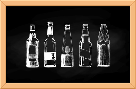 Vector set of beer bottles on chalkboard background.