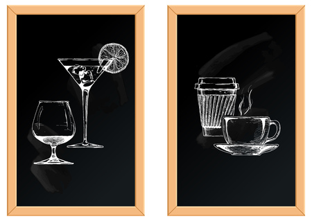 Vector illustration of set of alcoholic and soft drinks on chalkboard background.
