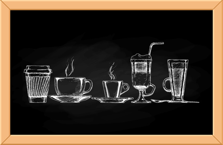 Vector set of coffee cups on chalkboard background.