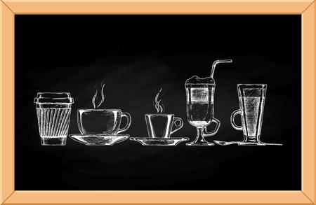 Vector set de tasses de café sur fond tableau. Banque d'images - 49194389