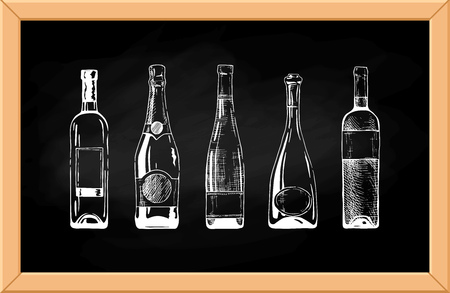 Vector set of wine and champagne bottles on chalkboard background.