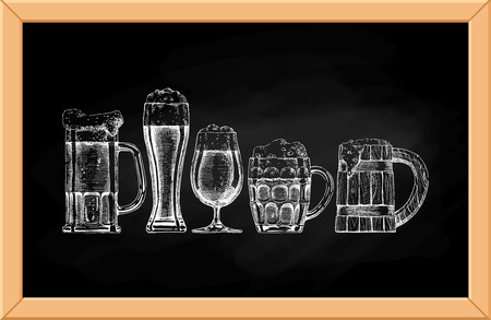 Vector set of beer glasses and mugs on blackboard background.
