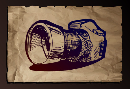 reflex camera: Vector drawing of reflex camera stylized as engraving on old paper background, Illustration