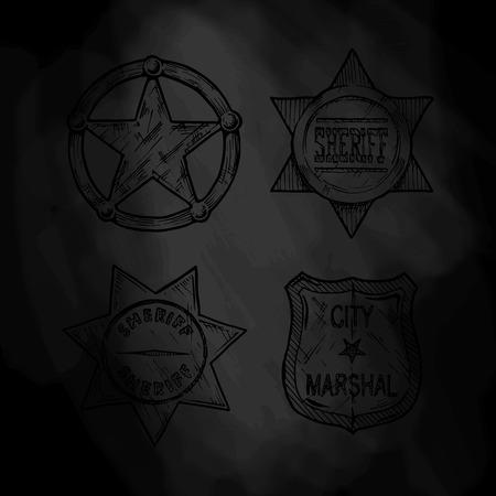 the marshal: Vintage sheriff and marshal badges set on black background. Illustration