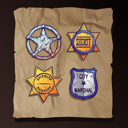 the marshal: Vintage sheriff stars and marshal badges set on old paper background. Illustration