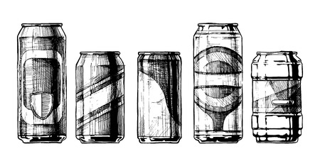 food can: Vector set of beverage cans in ink hand drawn style. isolated on white. Beercan.