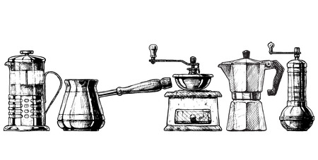 draw: Vector set of coffee making equipment. French press, Cezve,  old fashioned manual burr mill coffee grinder, moka pot, turkish manual coffee and pepper grinders.