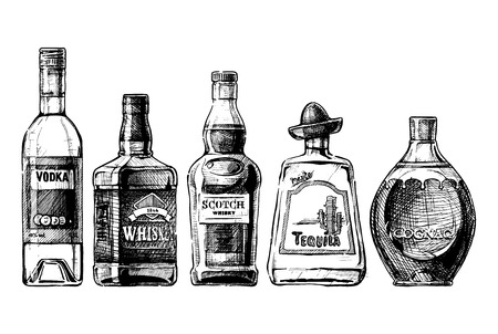 Wektor zestaw butelek alkoholu w atrament wyciągnąć rękę stylu. na białym. destylowany napój
