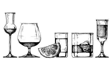 Vector set glazen drinkbekers in inkt hand getekende stijl. geïsoleerd op wit.
