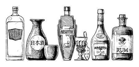 sake: Vector conjunto de botellas de alcohol estilo dibujado a mano de tinta. aislado en blanco. bebida destilada. Ginebra, sake, ajenjo, brandy, ron.