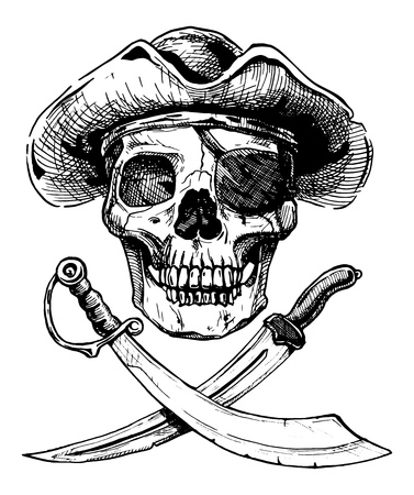 saber tooth: Vector black and white illustration of  pirate skull with  two cross swords in ink hand drawn style.