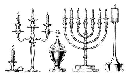 Vector hand drawn sketch of candlesticks set in ink hand drawn style.  Candlestick, candelabra, sanctuary lamp, menorah, modern candlestick
