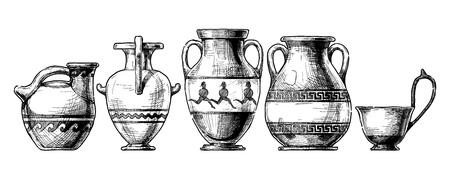 Vector hand drawn sketch of ancient greek vases set in ink hand drawn style.  Types of vases: Askos (pottery vessel), hydria, amphora, pelike, kyathos. Typology of Greek vase shapes. Stock Illustratie