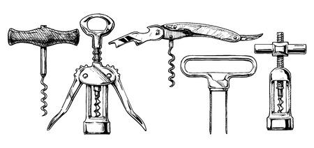 벡터 손에 잉크가 손으로 그린 스타일 코르크 세트의 스케치를 그려. 코르크 스크류의 종류 : 기본 코르크, 날개 코르크, 소믈리에 나이프, 집사의 친구, 연속 회전 코르크. 화이트에 격리입니다.
