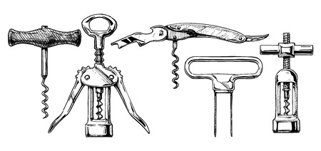 corkscrew: Vector hand drawn sketch of corkscrew set in ink hand drawn style. types of corkscrews: basic corkscrew,  wing corkscrew, sommelier knife, butlers friend, continuous turning corkscrew. isolated on white. Illustration